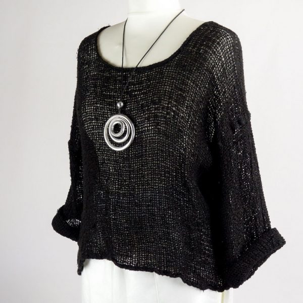 necklace handmade linen black top with sleeves for woman