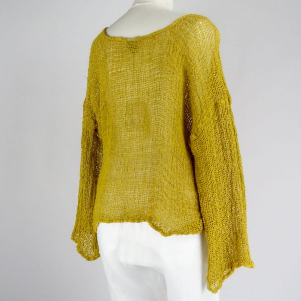 back handmade linen mustard top with sleeves for woman