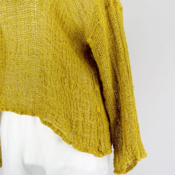 detail handmade linen mustard top with sleeves for woman