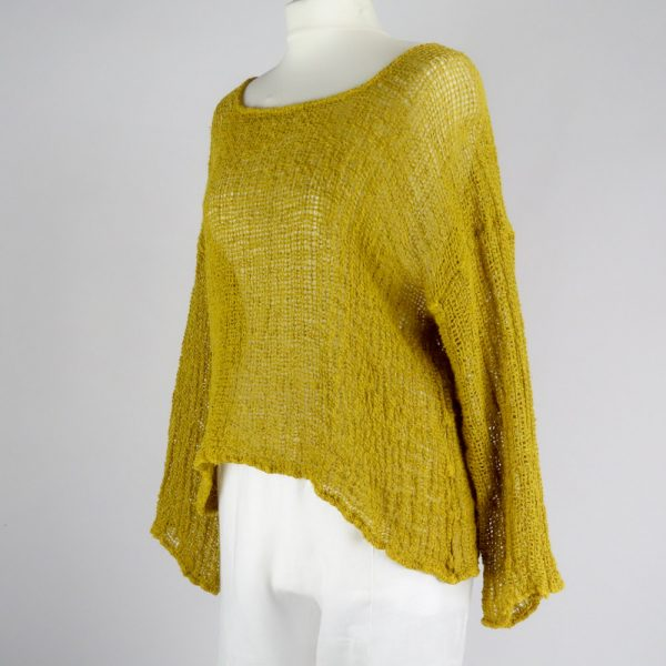 handmade linen mustard top with sleeves for woman
