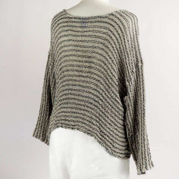 back handmade linen sleeves top with black stripes for woman
