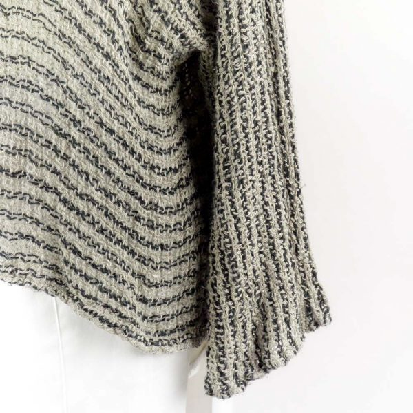 detail handmade linen sleeves top with black stripes for woman