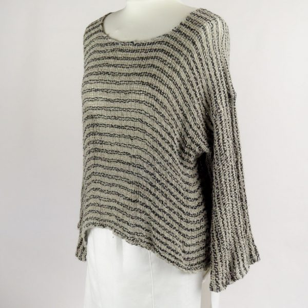 handmade linen sleeves top with black stripes for woman