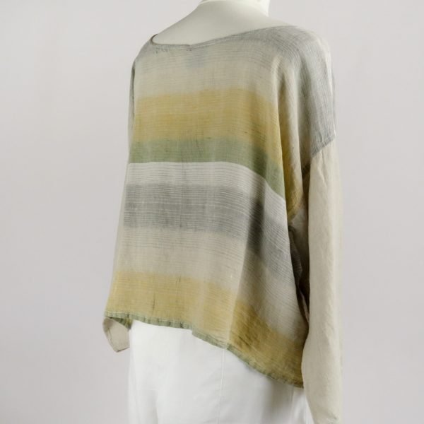 back handmade linen sleeves top with stripes for woman