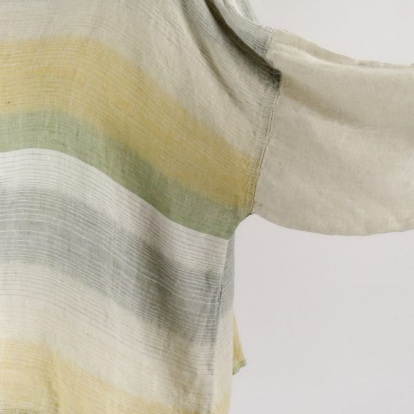 detail handmade linen sleeves top with stripes for woman