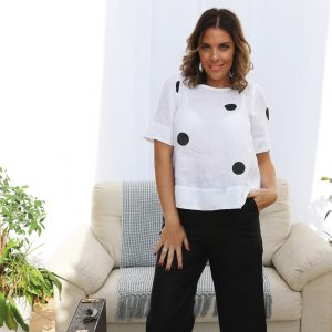 model with handmade linen sleeves top with dots for woman