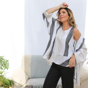 model with handmade linen jacket and top with stripes for woman