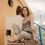 model with Handmade linen summer sleeveless top with stripes for woman