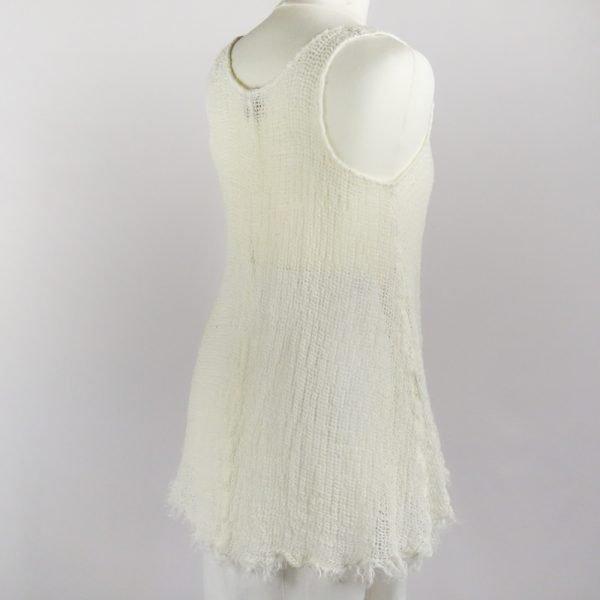 back handmade linen summer sleeveless white top for woman