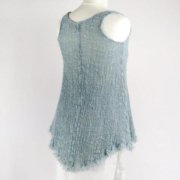 back handmade linen summer sleeveless blue top for woman