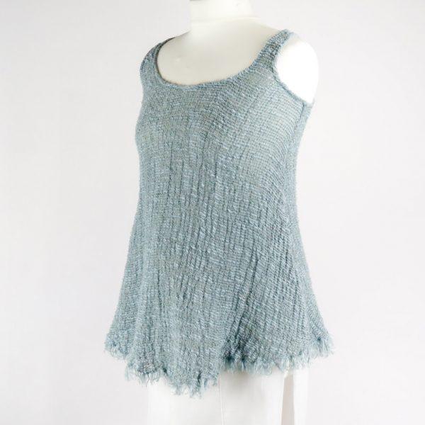 handmade linen summer sleeveless blue top for woman