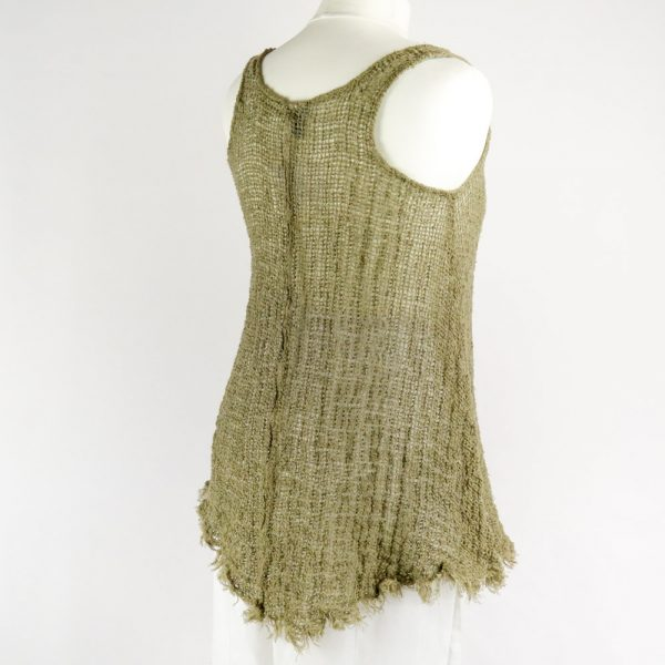 back handmade sleeveless green top for woman made with natural fabric