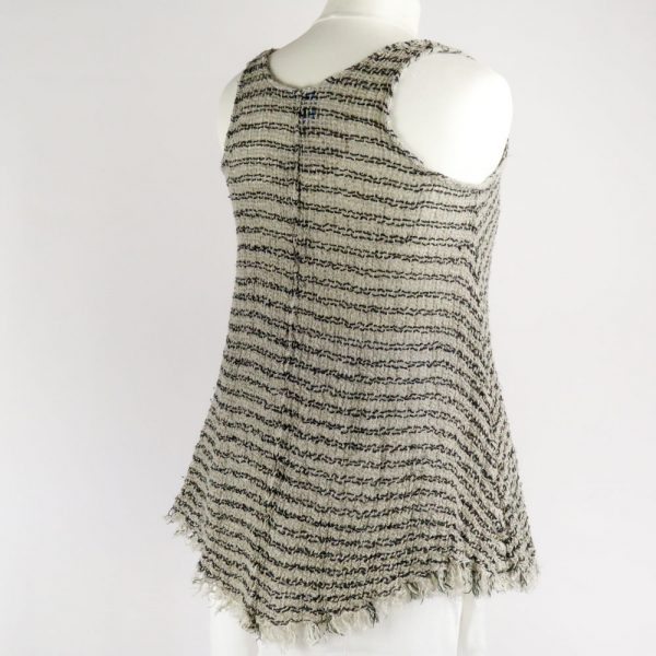 back handmade linen summer sleeveless top with black stripes for woman