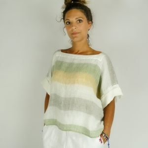 model with Handmade linen summer sleeves top with stripes for woman