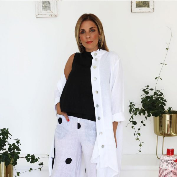 model with handmade linen white cardigan with white top for woman