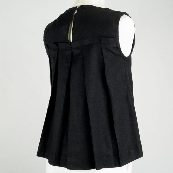 back of handmade linen summer sleeveless black top for woman