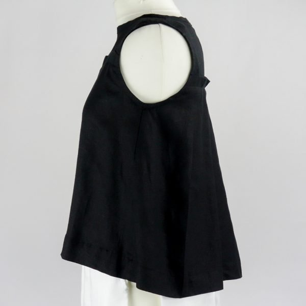 side of handmade linen summer sleeveless black top for woman