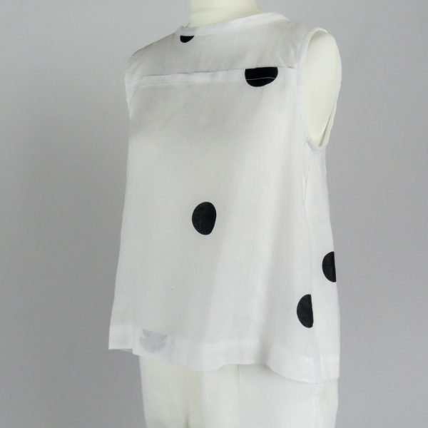 handmade linen summer sleeveless top with dots for woman