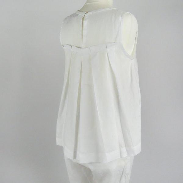 handmade linen summer sleeveless white top for woman
