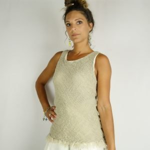 model with Handmade linen summer sleeveless beige top for woman