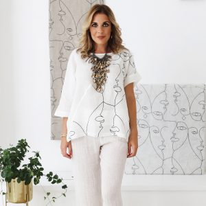 model with handmade linen sleeves top with hand embroider for woman