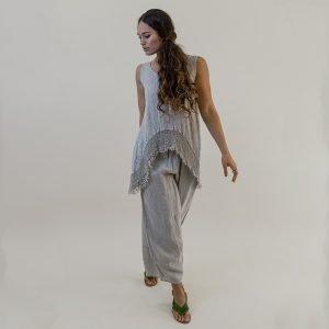 model with Handmade linen summer sleeveless beige tunic for woman