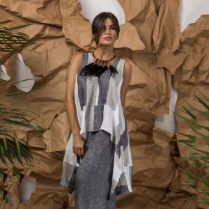 model with handmade sleeves tunic with stripes for woman made with natural fabric