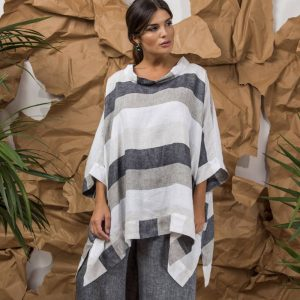 model with handmade linen sleeves top with stripes for woman