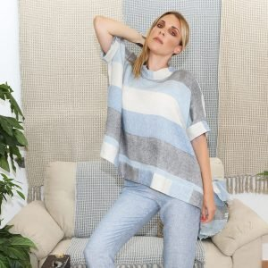 model with handmade linen sleeves top with blue stripes for woman