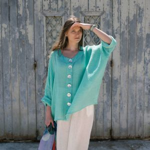 model with handmade linen tiffany green top with sleeves for woman