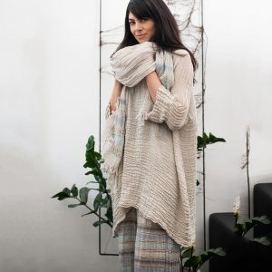 model with Handmade linen summer beige tunic with sleeves for woman