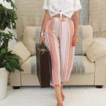 model with handmade linen trousers with stripes for woman