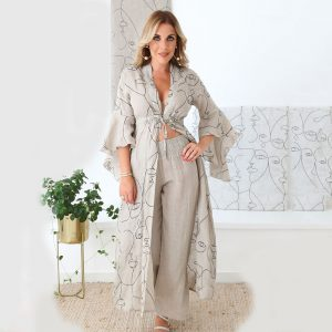 model with handmade trousers and cardigan for woman made with natural fabric