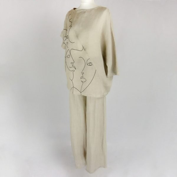 handmade linen trousers and top for woman