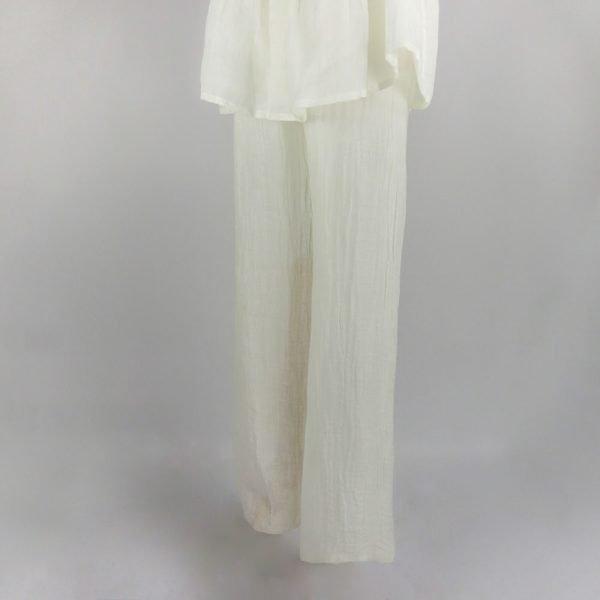 handmade linen cream trousers for woman