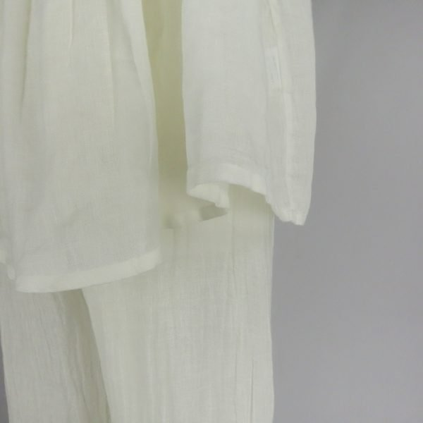 detail handmade linen trousers and top for woman