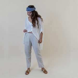 model with Handmade linen beige trousers for woman