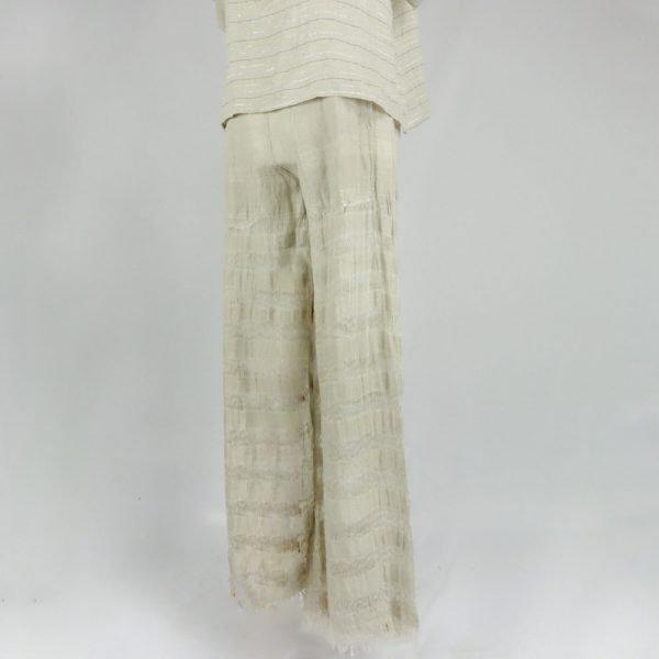 Handmade linen beige trousers for woman