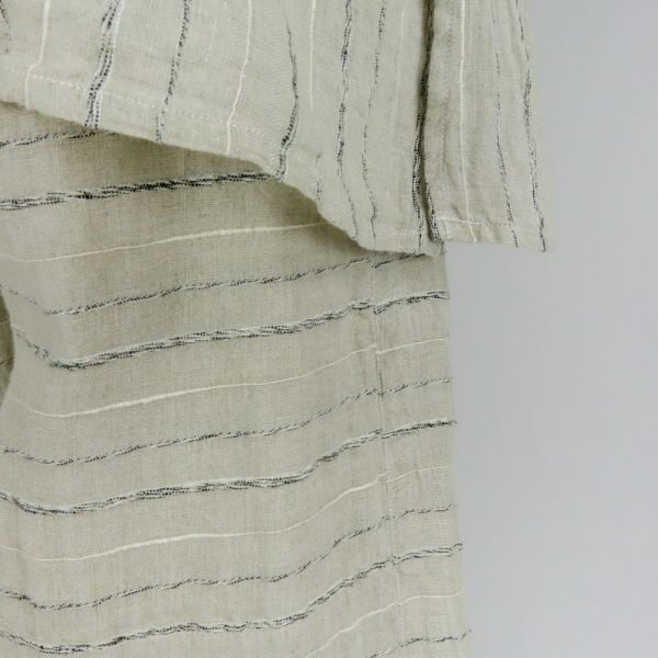 Detail Handmade linen trousers with stripes for woman