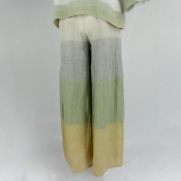 Handmade linen wide trousers with stripes for woman