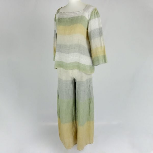 Handmade linen trousers and top with stripes for woman
